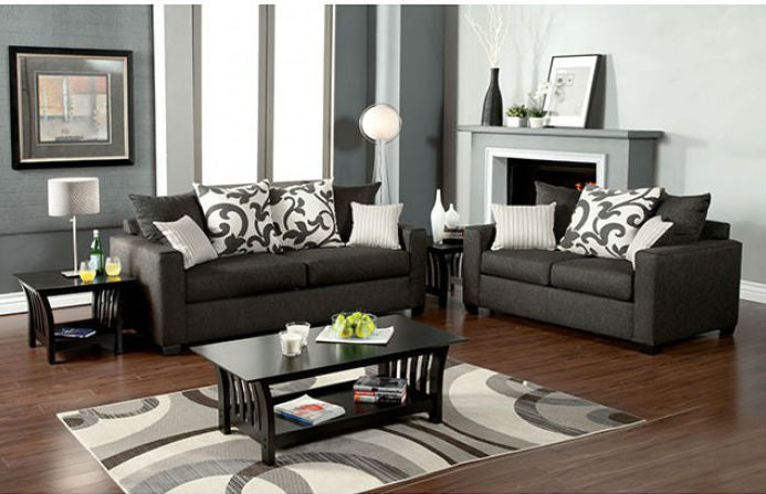 Fabric Sofa Gray Transitional