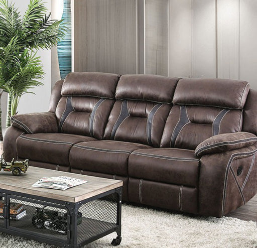 Flint Fabric-like Vinyl Brown Contemporary Sofa
