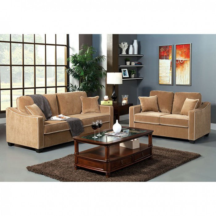 Florence Fabric Beige Transitional Sofa