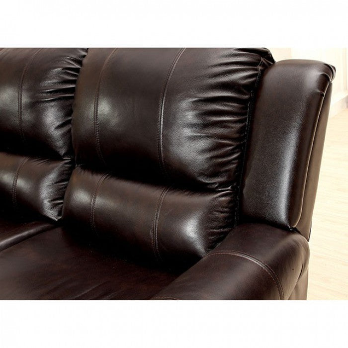 Foxboro Top Grain Leather Match Dark Brown Transitional Sofa