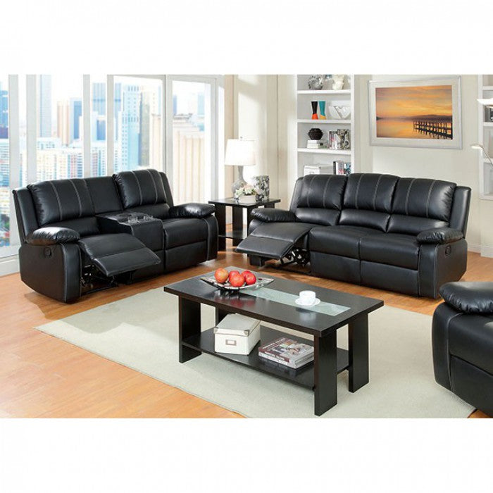Gaffey Bonded Leather Match Black Contemporary Sofa