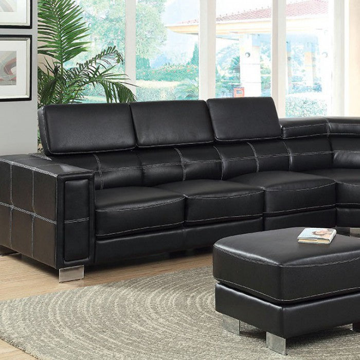 Garzon Leather Black Contemporary Chrome Sectional