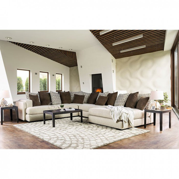 Giulianna Contemporary Cream Sectional Tuffed Sofa Shack