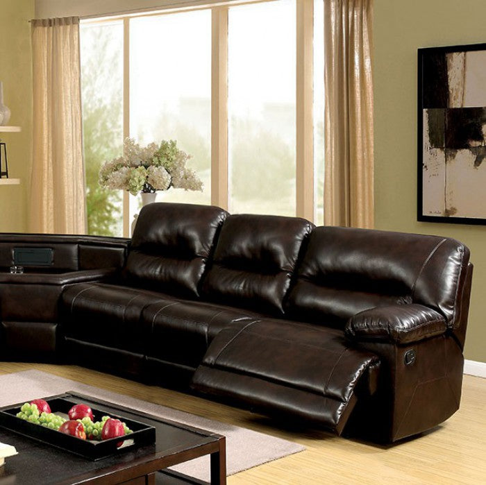 Glasgow Leatherette Transitional Brown Sectional Sofa