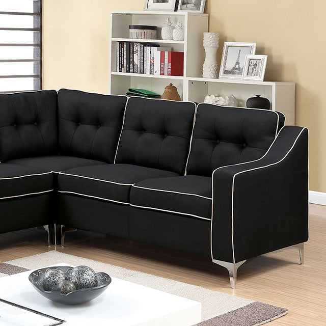 Glenda Contemporary Black White Fabric Sectional Sofa Shack