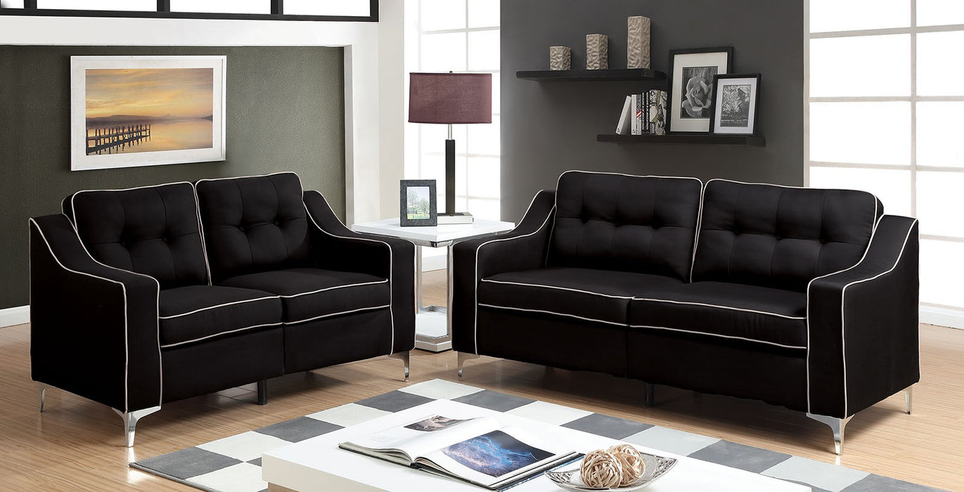 Glenda Fabric Black Contemporary Sofa
