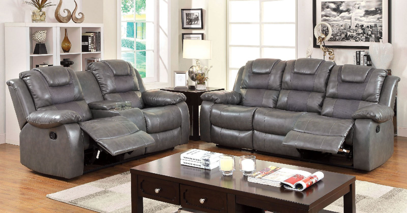 Grandolf Bonded Leather Match Gray Transitional Sofa