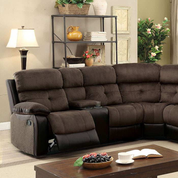 Hadley Ii Brown & Espresso Transitional Champion Fabric Leatherette Sectional