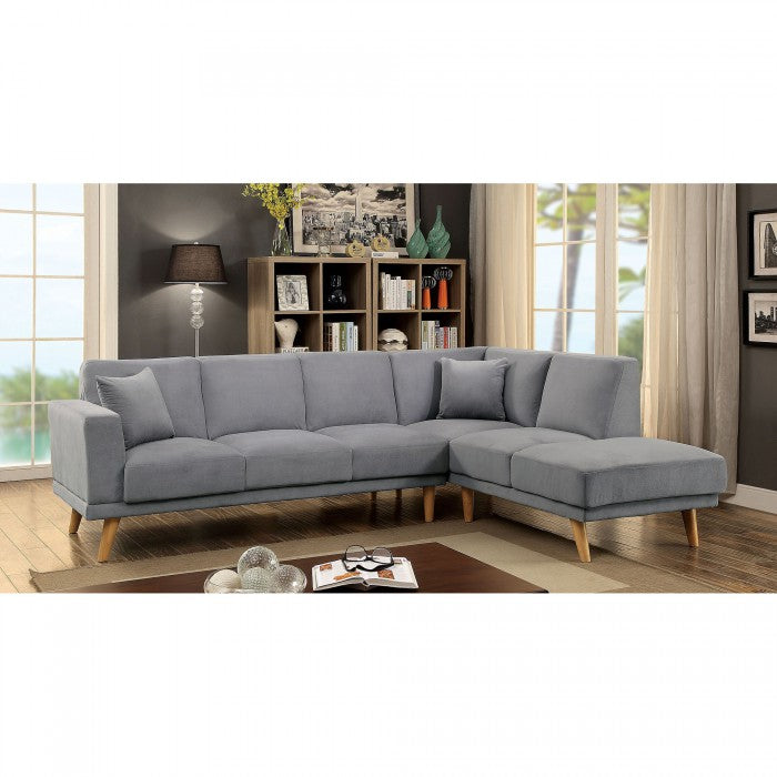 Hagen Gray Contemporary Mid-century Tapered Legs Sectional