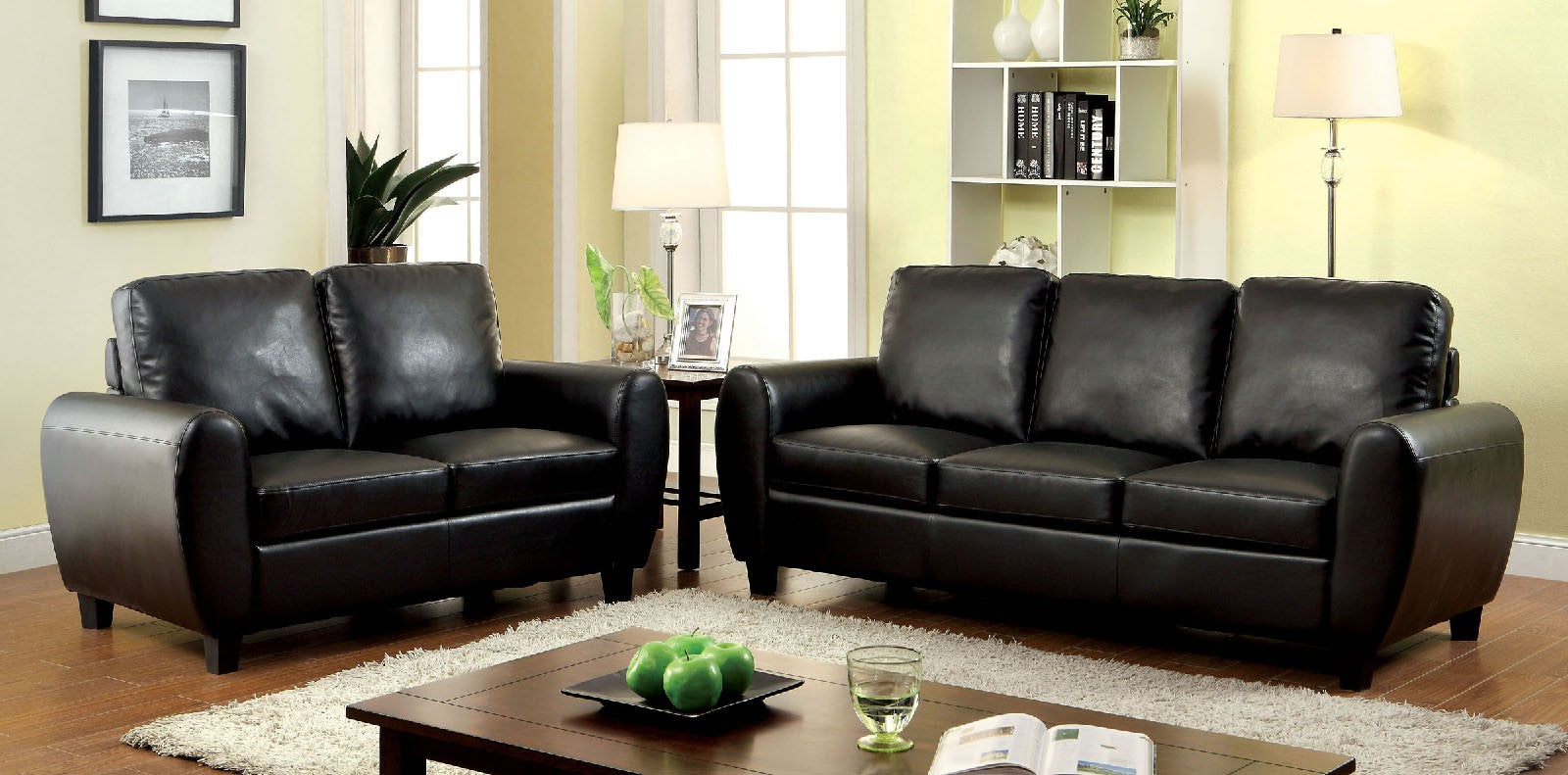 Hatton Leatherette Black Contemporary Sofa