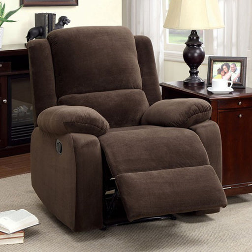 Haven Flannelette Dark Brown Transitional Recliner