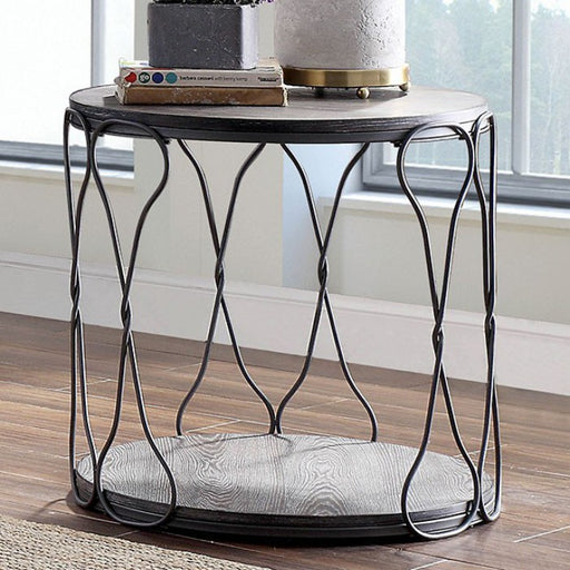 Hawdon Metal Gray Industrial End Table