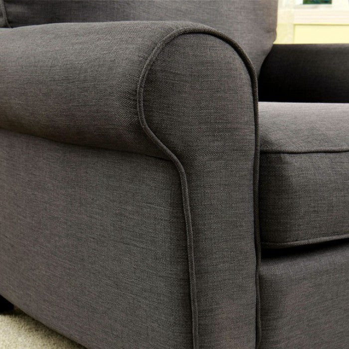 Hensel Linen-Like Fabric Gray Transitional Sofa