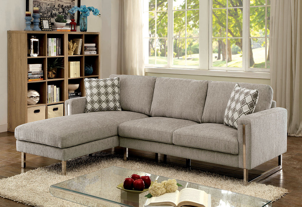 Hera Pewter Contemporary Chenille Chrome Legs Sectional