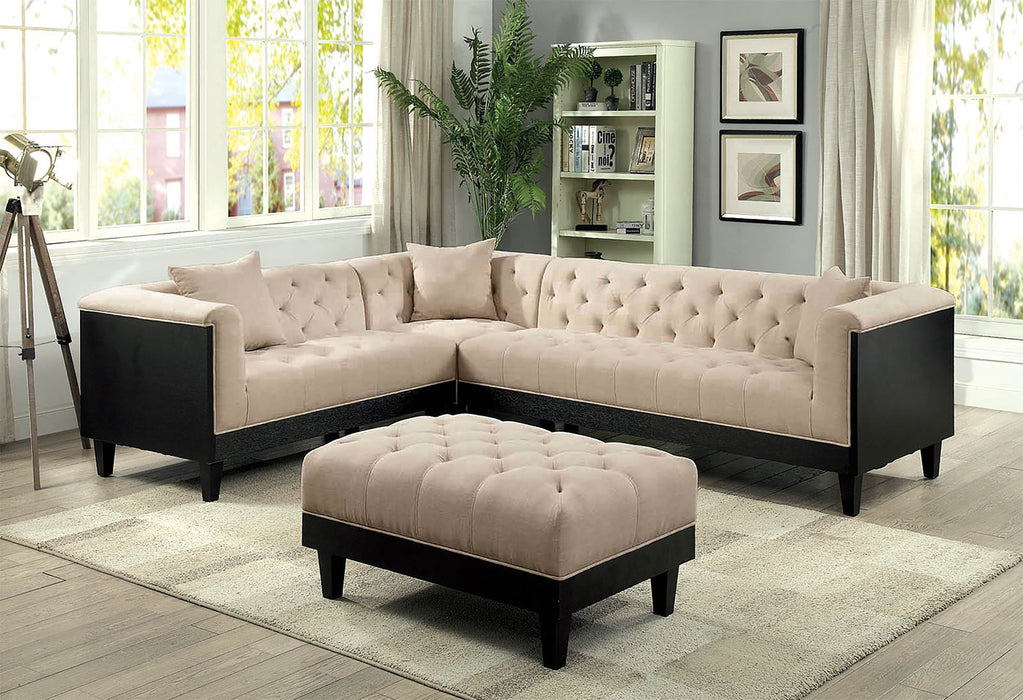 Hillary Beige/Espresso Transitional Flared Arms Linen Sectional