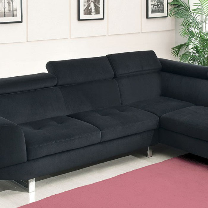 Holt Black Contemporary Chrome Legs Headrests Bella Fabric Sectional