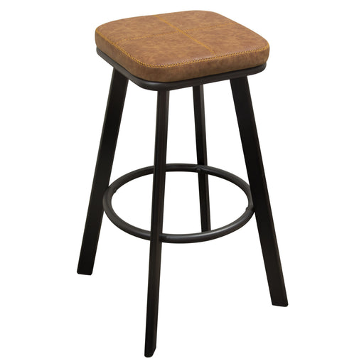 Houston Backless Stool with Coffee PU Padded Seat and Black Painted Wood Frame Leg Set - Coffee