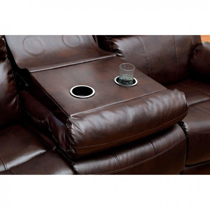 Hughes Bonded Leather Match Dark Brown Transitional Sofa