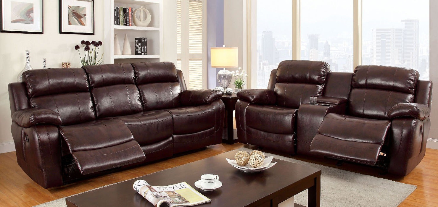 Hughes Bonded Leather Match Dark Brown Transitional Sofa — Sofa Shack
