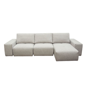 Jazz Modular 3-Seater Chaise Sectional with Adjustable Backrests in Light Brown Fabric - Barley