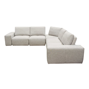 Jazz Modular 5-Seater Corner Sectional with Adjustable Backrests in Light Brown Fabric - Barley