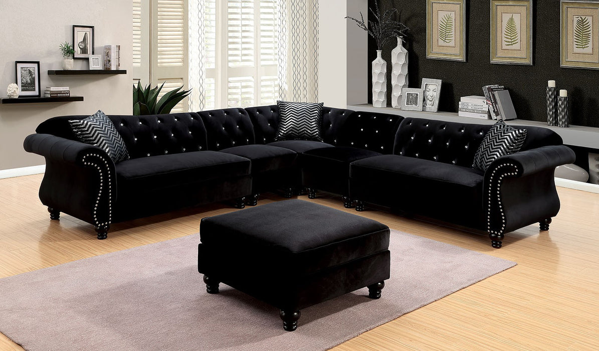 Jolanda Ii Flannelette Black Traditional Espresso Sectional