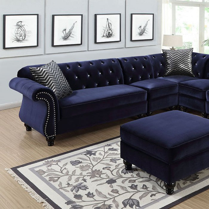 Jolanda Ii Flannelette Blue Traditional Espresso Sectional