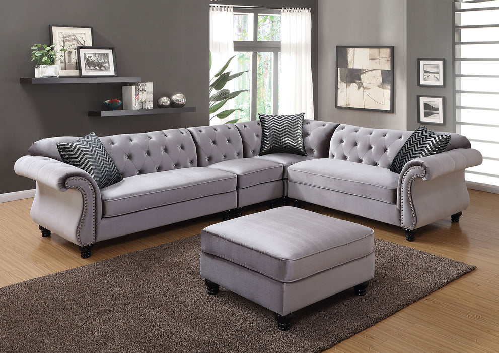 Jolanda Ii Flannelette Gray Traditional Espresso Sectional