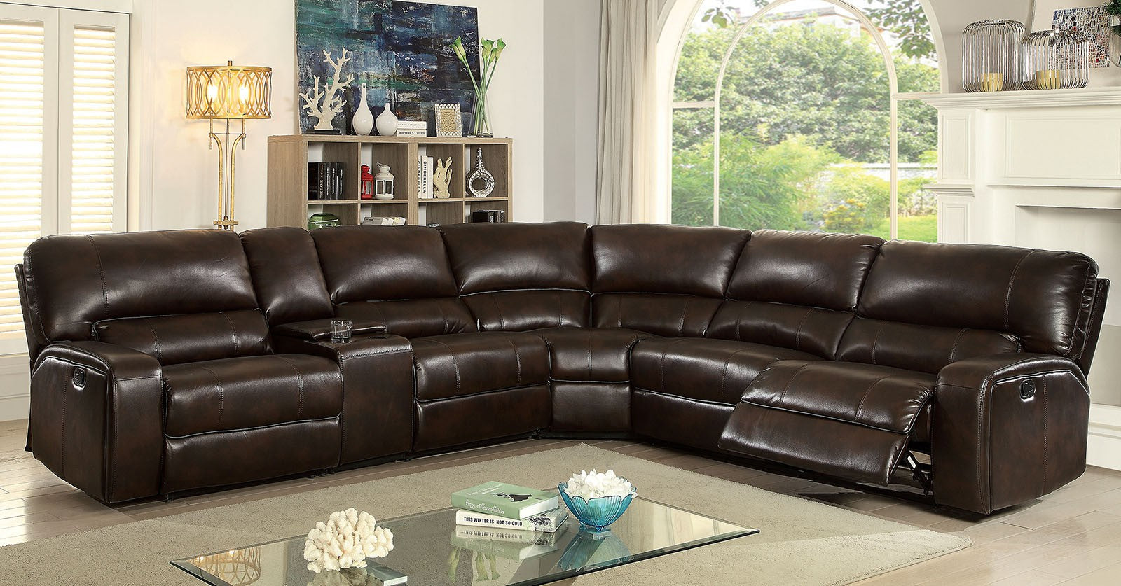 Jolene Brown Transitional Leatherette Recliners Sectional