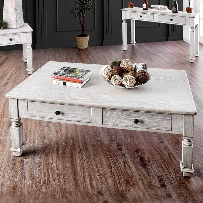 Joliet Antique White Rustic Coffee Table