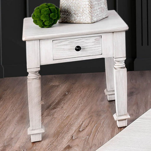 Joliet Antique White Rustic End Table