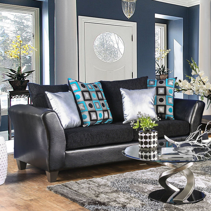 Kaelyn Leatherette Black Contemporary Sofa