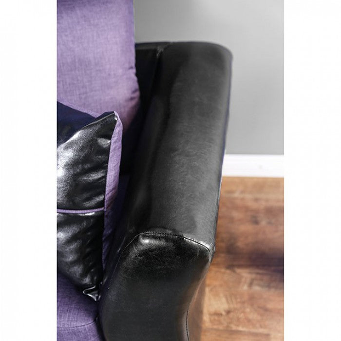 Kaelyn Leatherette Black/Purple Contemporary Sofa