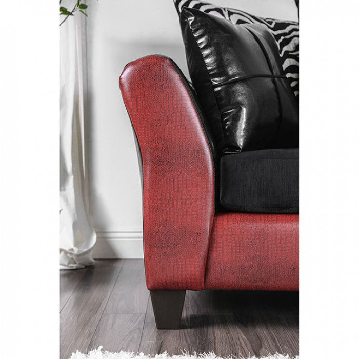 Kaelyn Leatherette Black/Red Contemporary Sofa