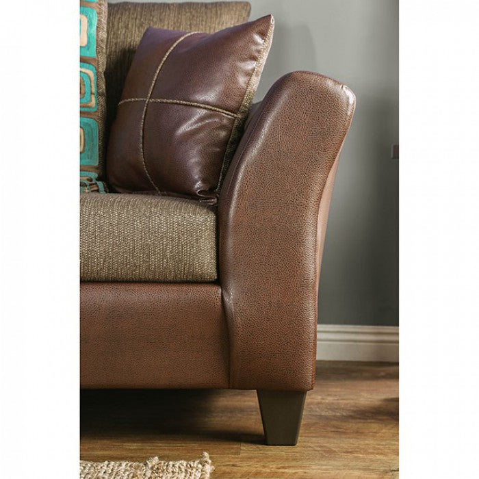 Kaelyn Leatherette Brown Contemporary Sofa