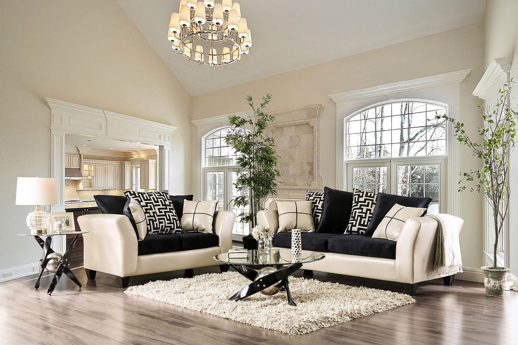 Kaelyn Leatherette Ivory/Black Contemporary Sofa