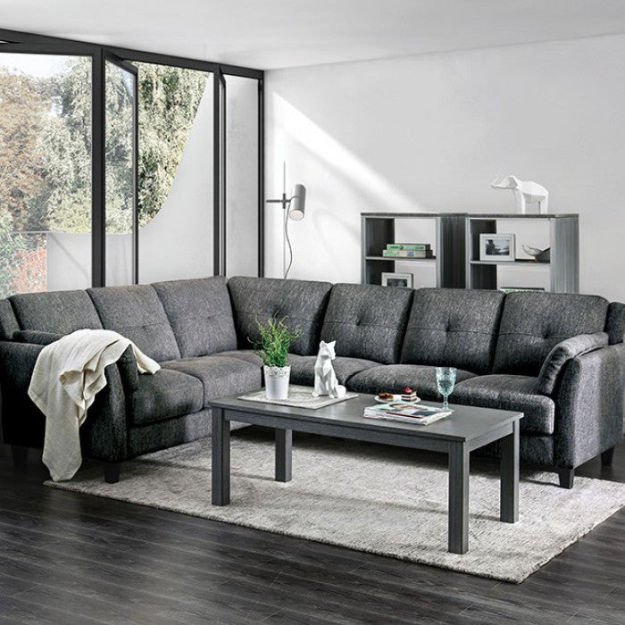 Kaleigh Gray Contemporary Fabric Tapered Legs Sectional — Sofa Shack
