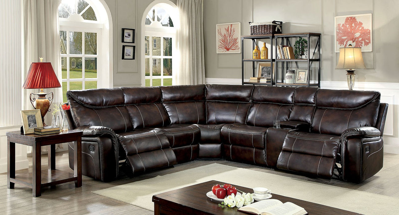 Karlee Ii Brown Transitional Leatherette Recliners Sectional
