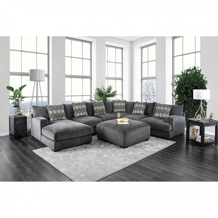 Kaylee Gray Contemporary Fabric Track Arms Sectional