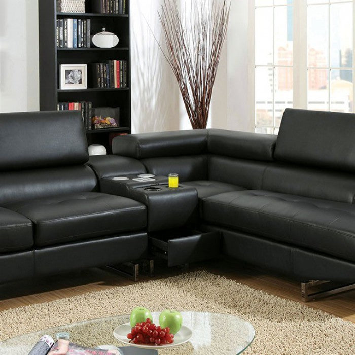 Kemi Leather Black Contemporary Chrome Sectional
