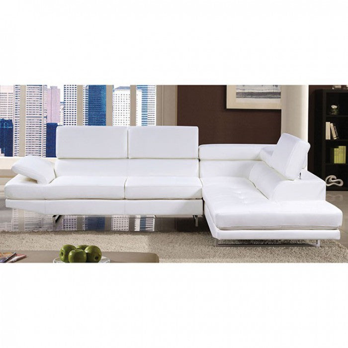 Kemi Leather White Contemporary Chrome Sectional