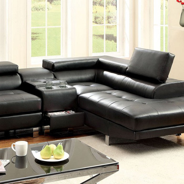 Kemina Leather Black Contemporary Chrome Sectional