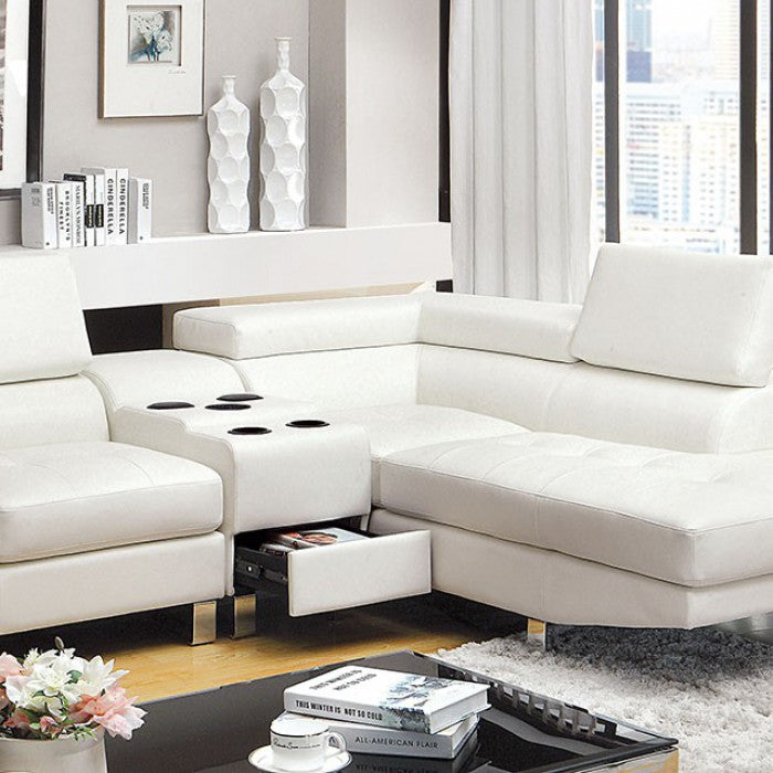 Kemina Leather White Contemporary Chrome Sectional