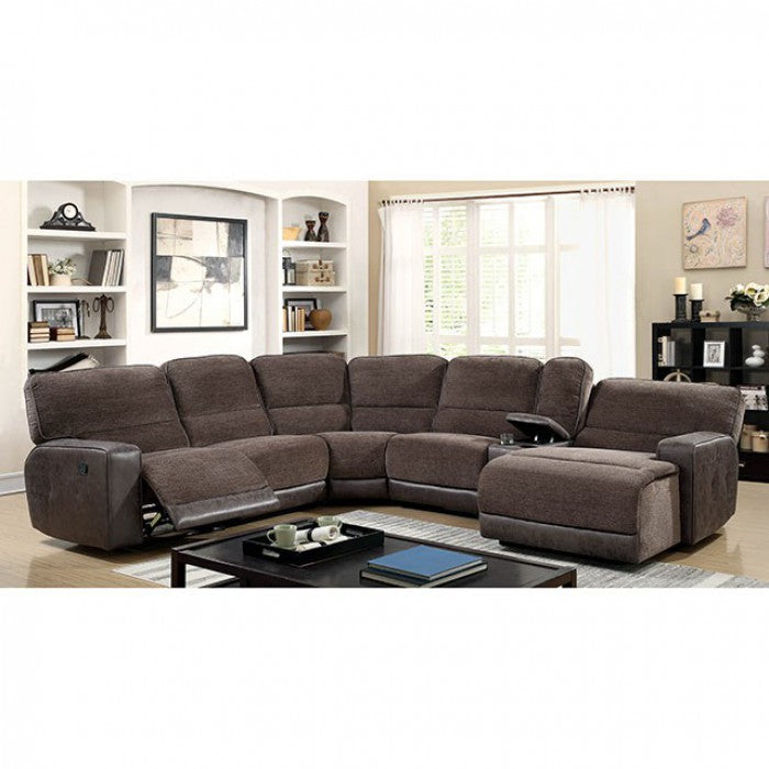 Kiki Brown Contemporary Track Arms Sectional