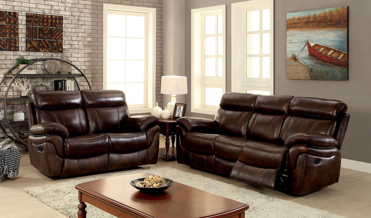 Kinsley Top Grain Leather Match Brown Transitional Sofa — Sofa Shack