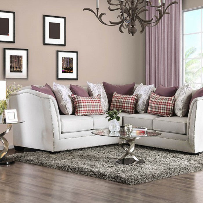 Kizzy Beige Contemporary Wood Frame Sloped Arms Sectional