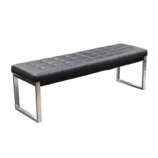 Knox Backless Tufted Bench with Stainless Steel Frame - Black