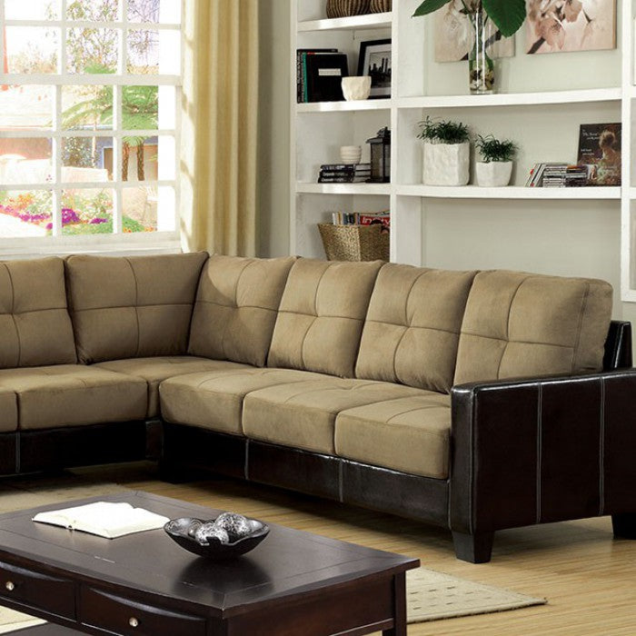 Lavena Elephant Skin Microfiber Tan Transitional Sectional