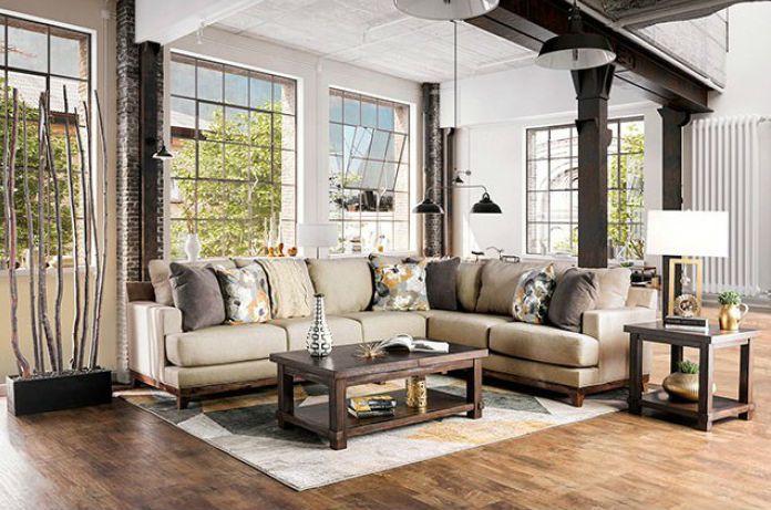 Lazzaro Sectional Sofa Beige Transitional Sofa Shack