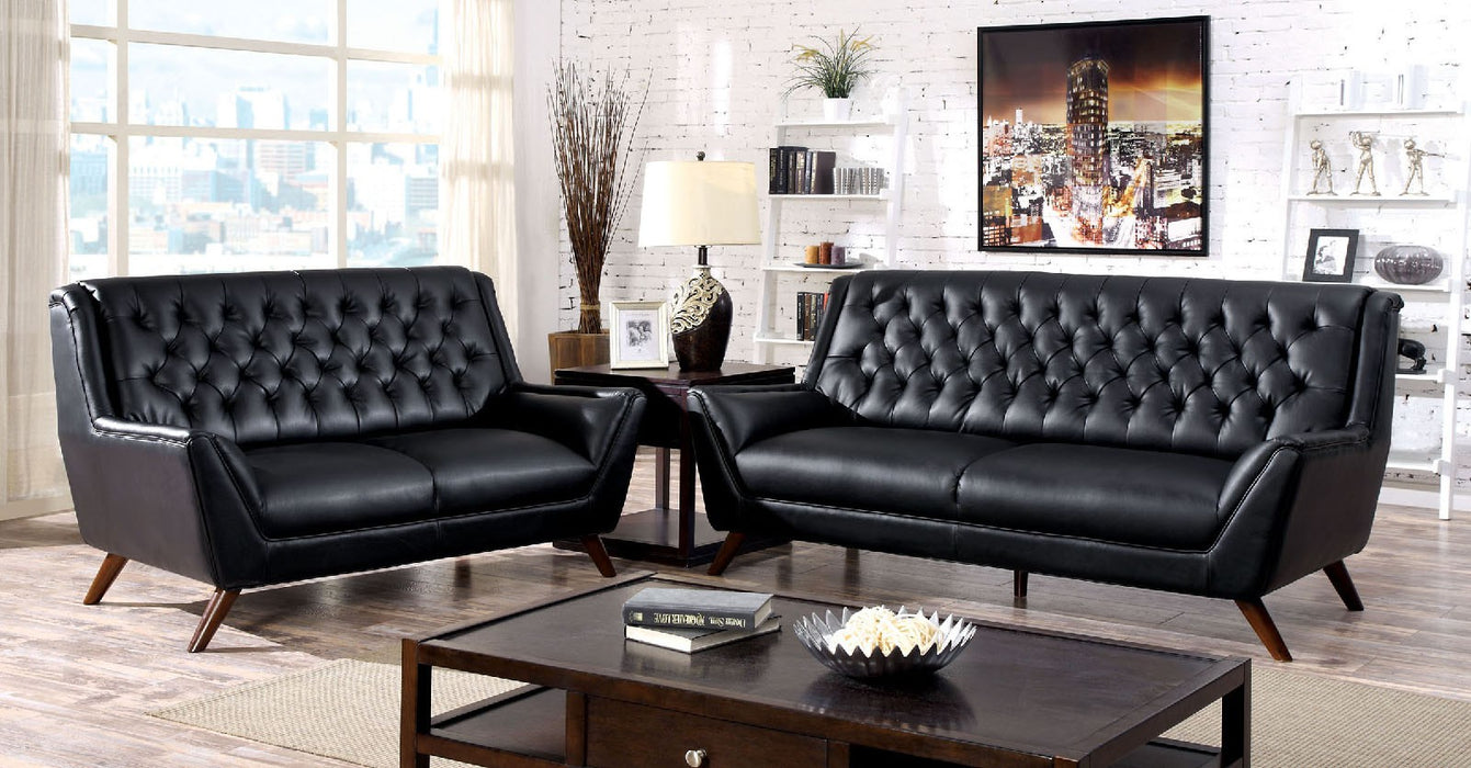 Leia Bonded Leather Match Black Mid-Century Modern Sofa